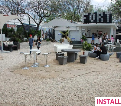 After photo: Pink Landscapes design plan for music event landscaping gig.